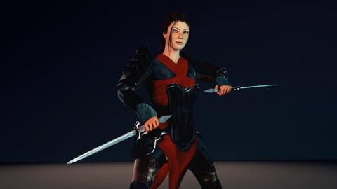 8K Female Warrior PBR Game Ready Animated