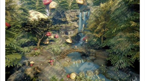 Mushroom Waterfall PNG Format