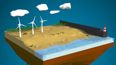 Floating island of Desert windfarm beach 3D model