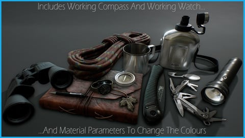 Survival Kit and Tools with Working Compass and Watch [UE4]