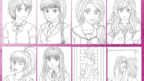 Anime School Girls - Coloring Pack