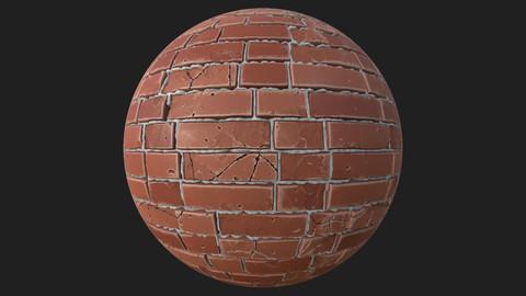 PBR Wall Brick Damaged Texture