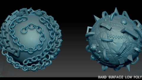 Hard Surface low poly Zbrush chains