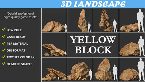 Low poly sharp blocky Yellow rock formation Pack