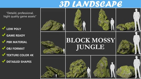 Low poly sharp block mossy rock Pack