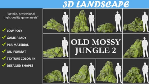 Low poly Medium mossy modular rock Pack