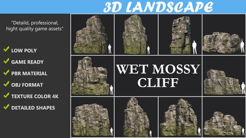 Low poly Wet Mossy Blocky Rock Cliff Pack