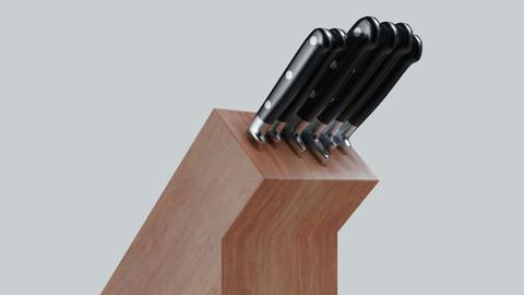 kitchen knife set   4K Textures  UV Mapping  Polygonal Topology