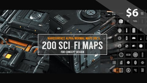 Hardsurface Alpha/Normal Maps Vol 1: 200 Sci-Fi Maps