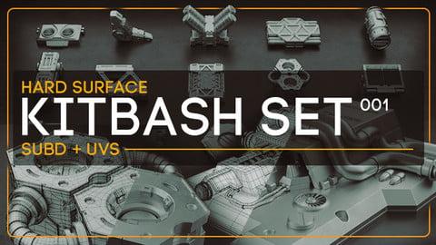Hard Surface / Kitbash Set 001 (subD + UVs)