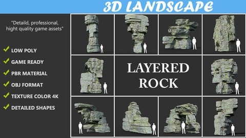 Low poly Mossy Layer Rock Pack 190312