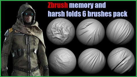 Memory and harsh folds for fabric (6 brush pack for Zbrush)