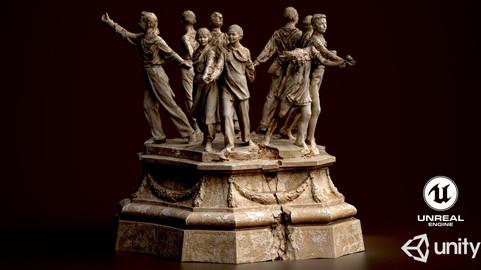 Soviet monument Low-poly 3D model (postapocaliptic)