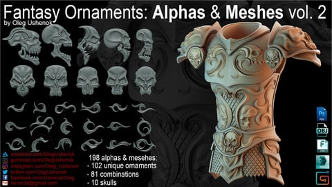 Fantasy Ornaments: Alphas & Meshes vol. 2