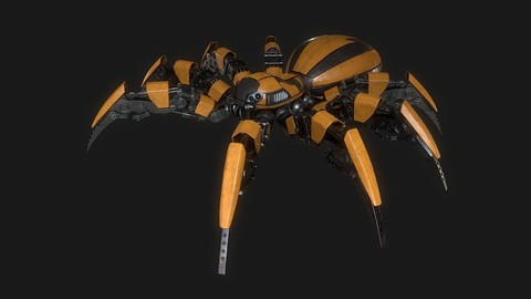 Spider robot low poly