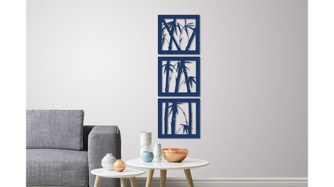 Bamboo wall decoration ( set of 3 frames )