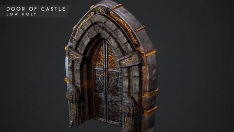 Door for Castle - Ready to Game Low - poly 3D model