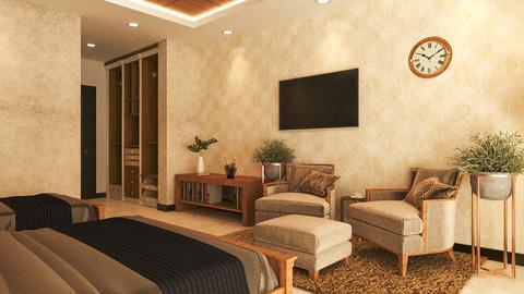Hotel Guest Room interior 3D model