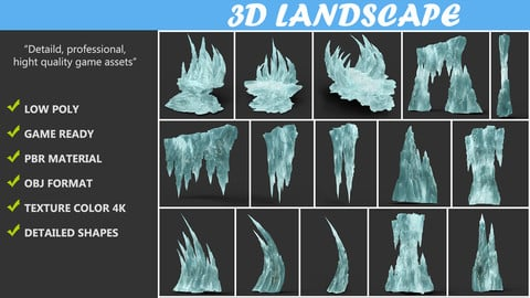 Low Poly Sharp Ice Modular Landscape