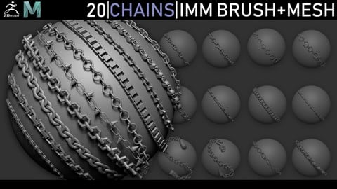 Zbrush - Chains IMM Brush + Meshes
