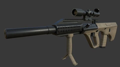 Aug and attachments [PBR Weapon]  (Game ready)