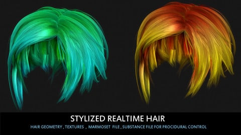Stylized_Realtime_Hair with procedural textures