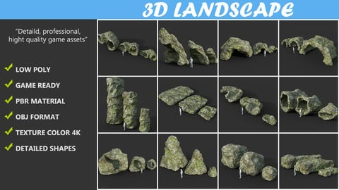 Low poly Cave Modular Mossy Rock Casual Package