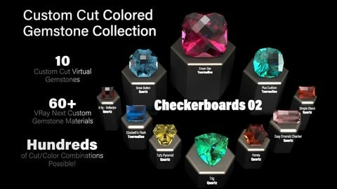 Checkerboards 02 — Custom Cut Colored Gemstones + Custom V-Ray Materials