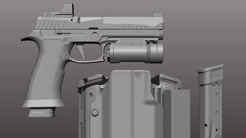 X-Five pistol w/drop down thigh rid, extra mag
