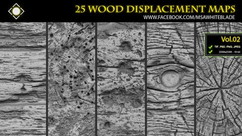 25 Wood Pattern Displacement Maps / Alphas Vol.02 - ZBrush/Mudbox/SP