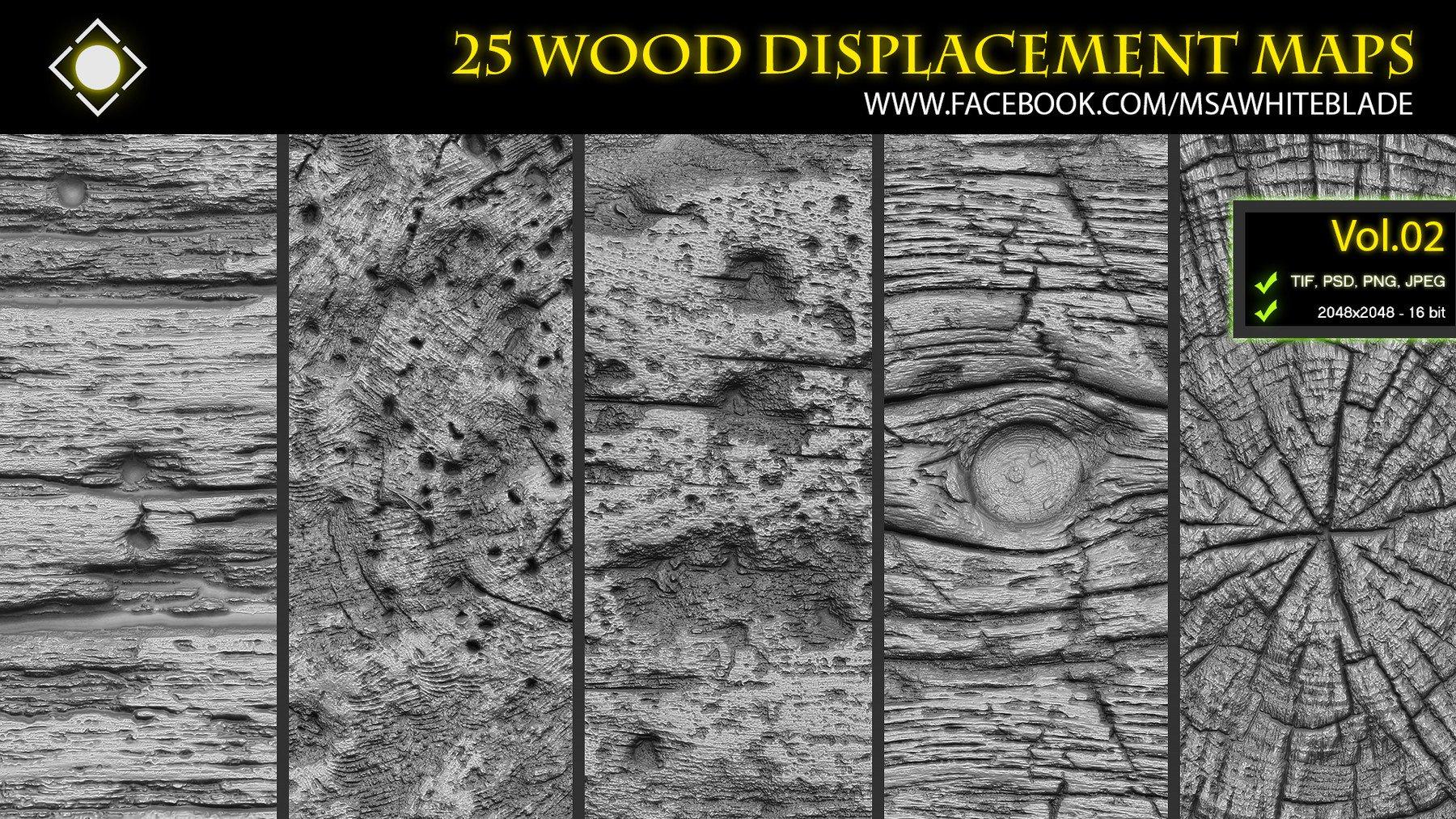 25 Wood Pattern Displacement Maps / Alphas Vol 02 - ZBrush/Mudbox/SP by  Muhammad Sohail Anwar