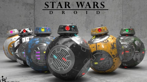 BB-9E Star Wars droid Low-poly 3D model
