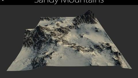 Terrain - 3 Sandy Mountains Height maps / Models