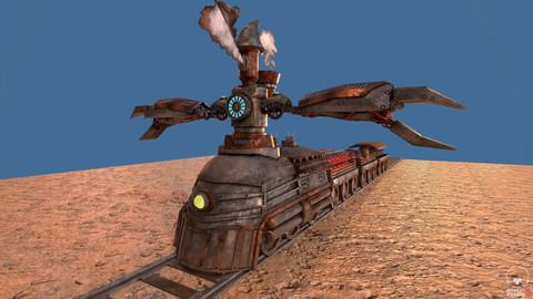 Steampunk Battle Robot Train