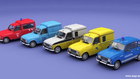 Set of 5 Renault 4 utilities