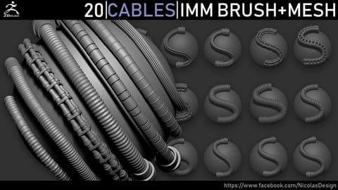 Zbrush - Cables IMM Brush + Meshes