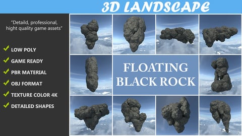 Low poly Floating Island Black Rock Pack 190502