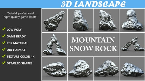 Low poly Mountain Snow Rock Pack A-190426
