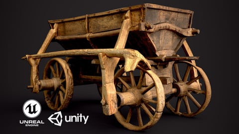 Old Wooden Cart  low-poly 3d model