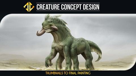 Alien Creature Concept Design - Thumbnails to Final Painting