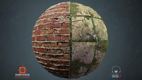 Sloppy Brick Wall and Damaged Concrete tiles Materials - Substance Designer and Marmoset Setup