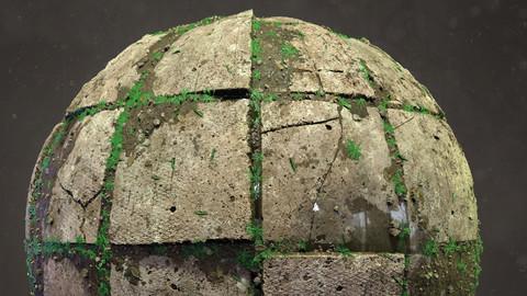 Damaged Concrete Tiles Material - Substance designer