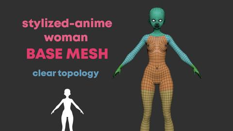 stylized anime woman base mesh