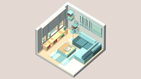 Isometric cartoon living room
