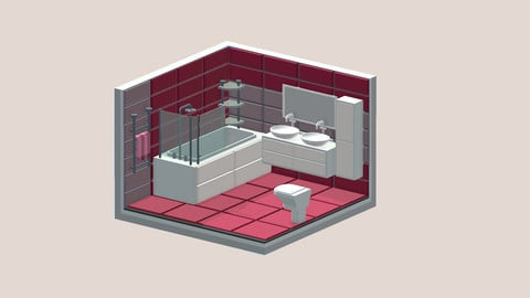 Isometric cartoon room bathroom