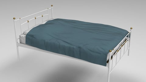 Vintage style bed frame and bed Low-poly 3D model