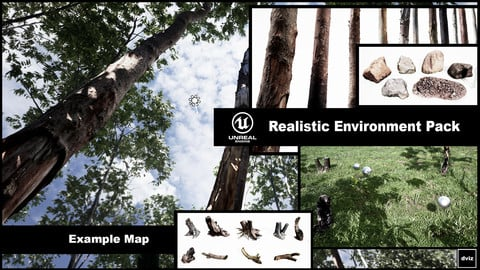 Realistic Trees, grass, plants, stumps, Pack - Unreal Engine