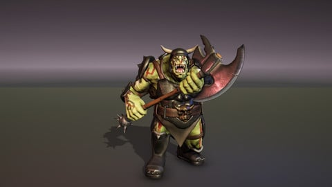 Orc - Ogre character with generic armor, animations and weapons.