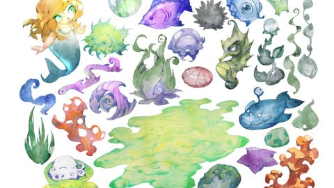 Watercolor aquarium set
