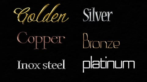 6 Pro Precious Metals Realistic Styles & Text Effect